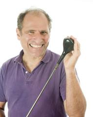 smiling senior man middle age golf wood club