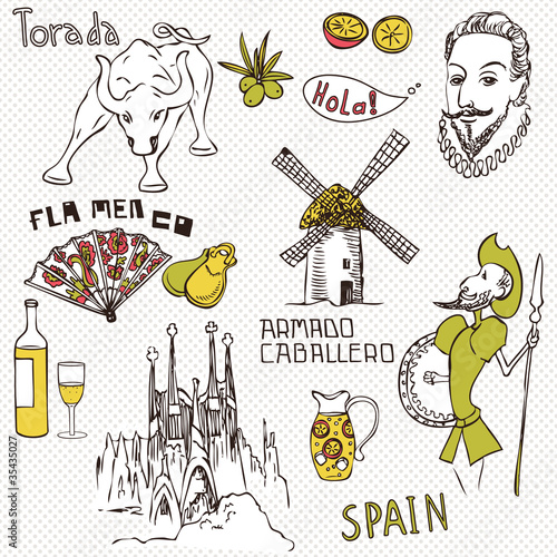 Love Spain, doodles symbols of Spain.