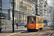 Old vintage orange tram on the street of Milan, Italy - 35435440