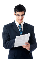 Businessman showing document or contract