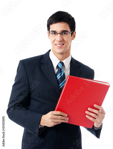 Business man with red folder, on white