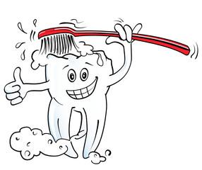 Zähne putzen, rote Zahnbürste