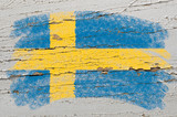 Fototapety flag of Sweden on grunge wooden texture painted with chalk