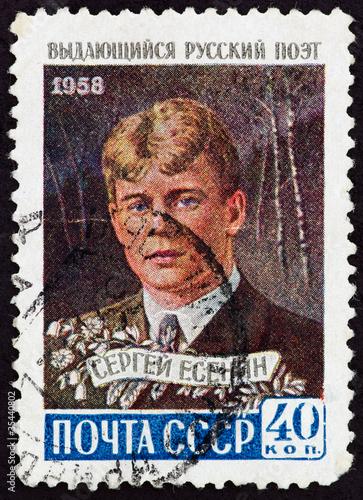 Poster Postal stamp. C.A. Yesenin, 1958