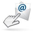 Left-handed cursor on e-mail envelope