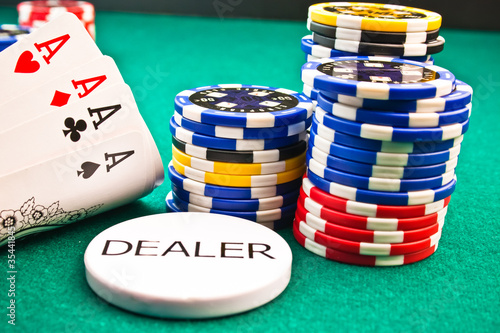 dealer  chips poker poker aces