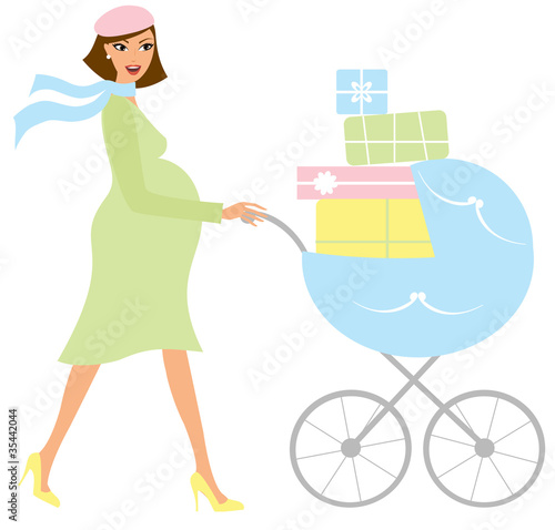 Young attractive pregnant woman with a stroller