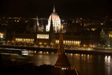 parliament building at night in Budapest, Hungary