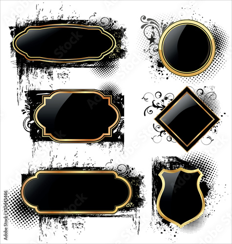 Elegant labels on grunge background