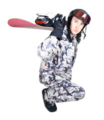 Portrait of handsome boy in sportswear with snowboard isolated o