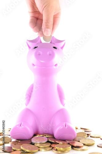 La hucha del cerdito rosa.