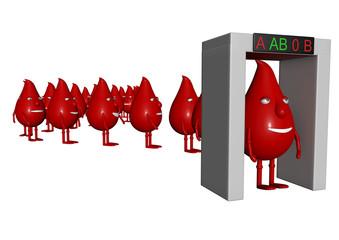 Gruppe von Blutmännchen bei der Blutgruppenbestimmung