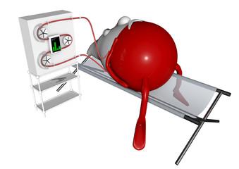 Blutmännchen beim Blutaustausch