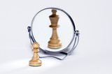 chess pawn, chess king, mirror reflection,