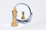 chess king, chess pawn, contrast, mirror reflection,