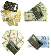 calculator and money set