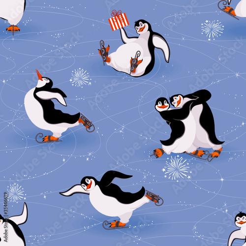 Penguins skating seamless pattern