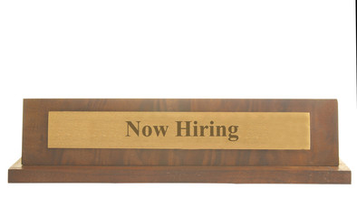 Isolated name plate with Now Hiring text