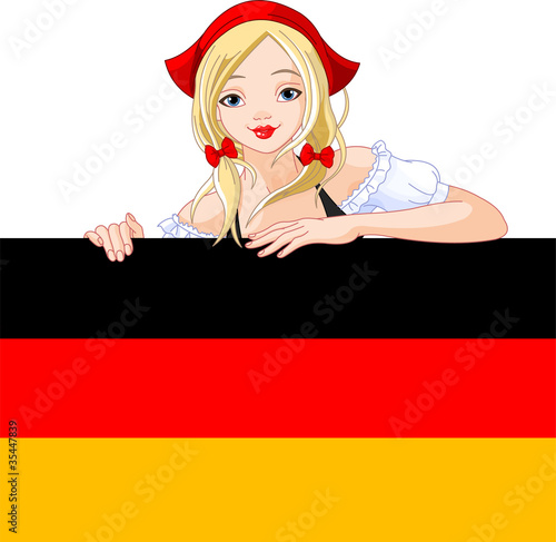 Germany girl over Deutsch flag sign