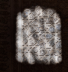 Alhambra de Granada. Moorish relief with light and shadows