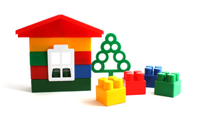 House constructed from toy bricks