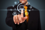 Businessman pressing virtual media type of buttons