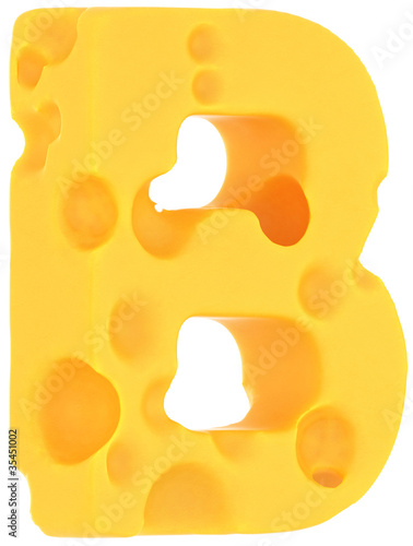 Cheeze font B letter isolated on white