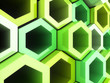 Green frame hexagons