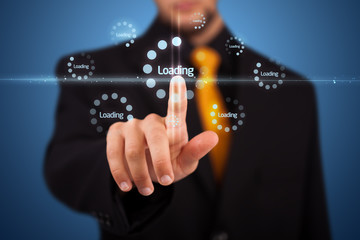 Businessman pressing simple type of start buttons