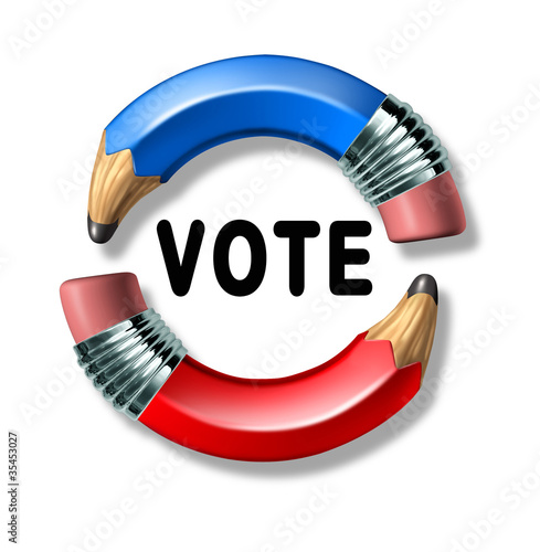 Vote symbol with curved pencils