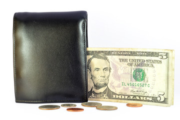 dollar banknote , coins and wallet
