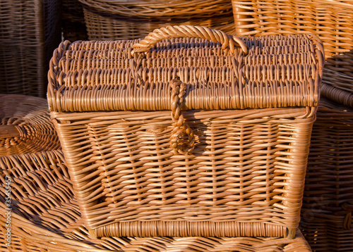 Handmade wooden wicker basket.