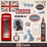 Fototapety vector set: London design elements