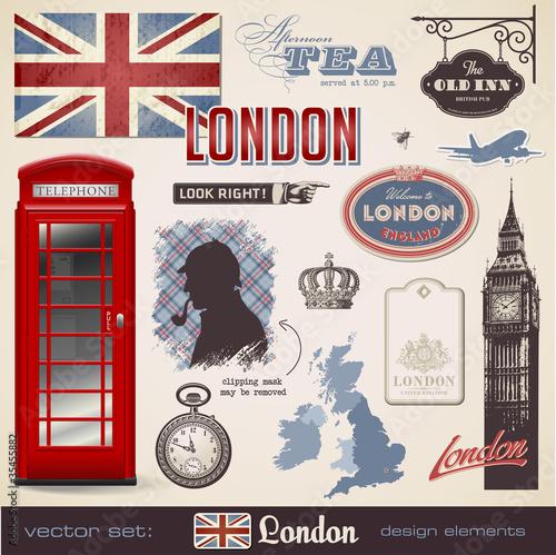 Vektor-Set: London Design-Elemente