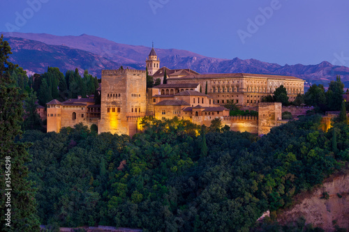 Alhambra de Granada, panoramic of Nasrid Palaces at dusk