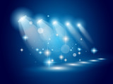 magie reflektory s modré paprsky