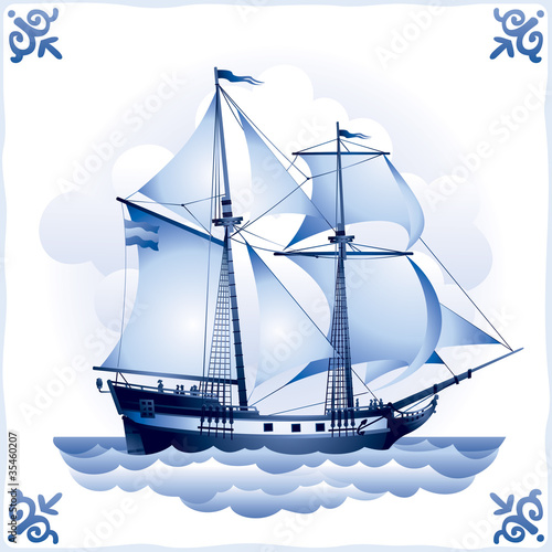 Ship on the Blue Dutch tile 8, Brigantine