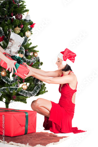 Happy woman with Christmas presents