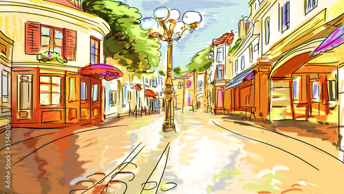 Papiers peints Peint Paris old town - illustration sketch