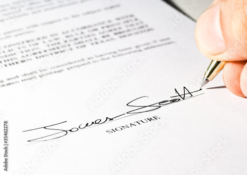 Signature on a contract