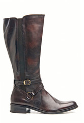 Brown female knee high boot over white