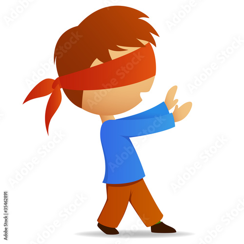 Cartoon man with blindfold