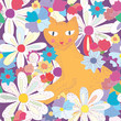 Seamless pattern with cat and flowers