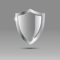 Logo shield of glass and metal # Vector