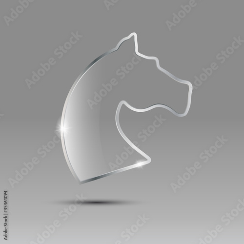 Logo glass and metal horse # Vector