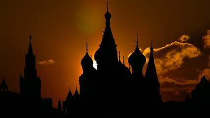 St.Basil`s cathedral and golden sunset