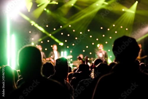 silhouette of an audience at a music concert