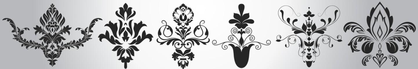 Stylish Victorian Damask Floral Elements