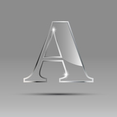 Logo letter A in glass and metal # Vector