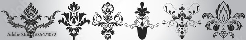 Stylish Victorian Damask Floral Elements